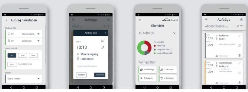 Linde Truck Call App Smartphone Menü Ansicht
